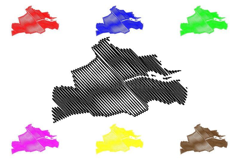 Cork City Council Republic of Ireland, condados da Irlanda mapeiam a ilustração vetorial, esboço escrivável mapa Cork Corporation ilustração do vetor
