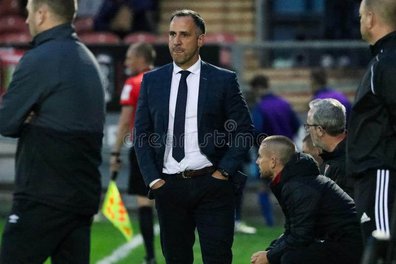 Cork City FC manager Neale Fenn at the League of Ireland Premier Division match against Waterford FC. September 2nd, 2019, Cork, Ireland - Cork City FC manager royalty free stock images