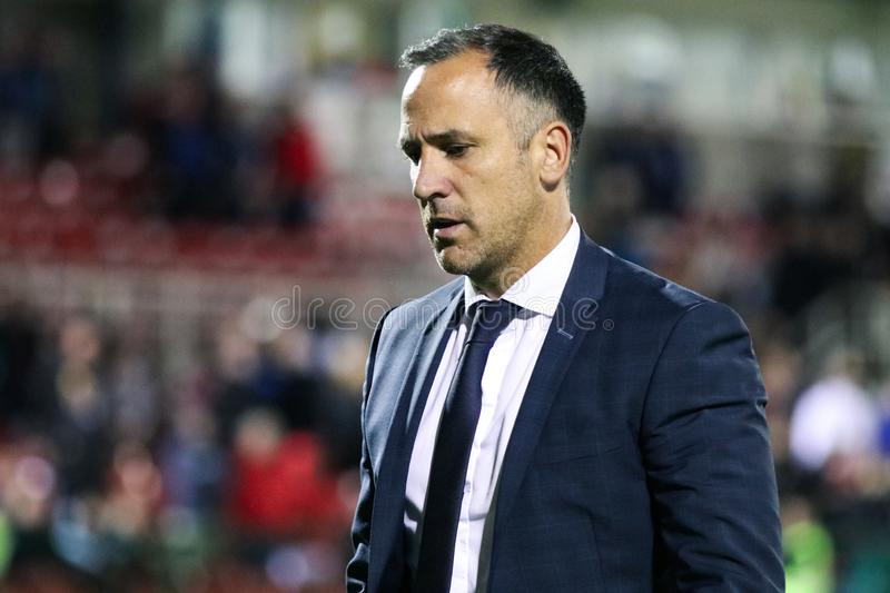 Cork City FC manager Neale Fenn at the League of Ireland Premier Division match against Waterford FC. September 2nd, 2019, Cork, Ireland - Cork City FC manager stock image