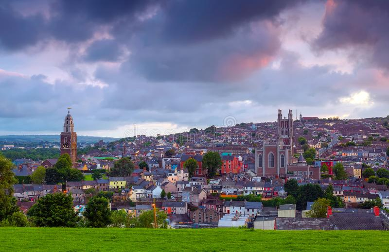 Cork City,Ireland. Evening view of Cork City from St.Patrick`s Hill stock images