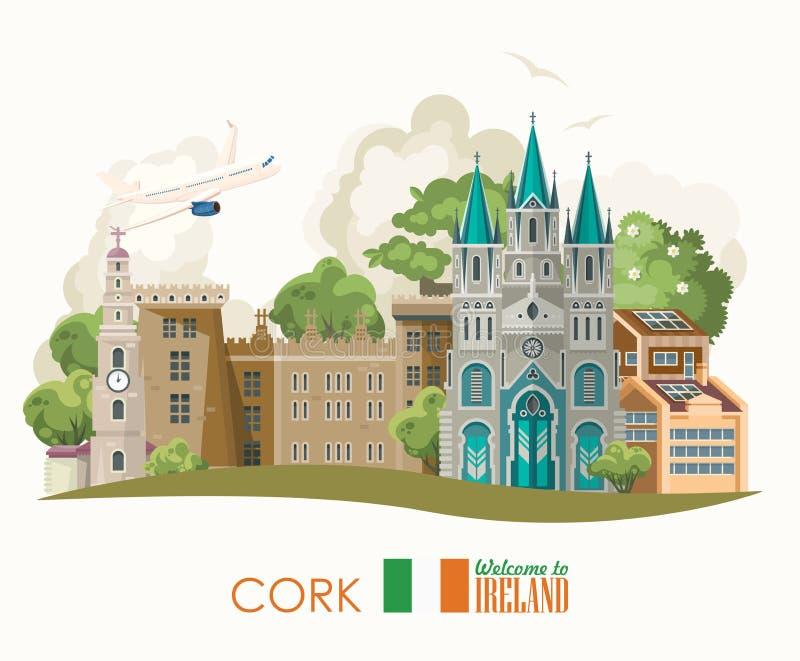 cork city ireland vector flat design card with landmarks irish castle green fields colorful template
