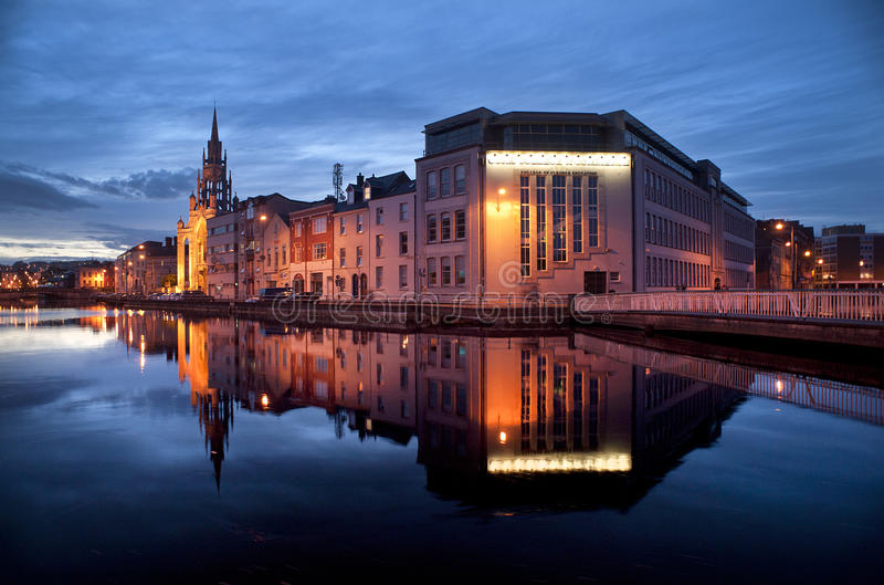 Cork City Reflection At Dusk Stock Photo