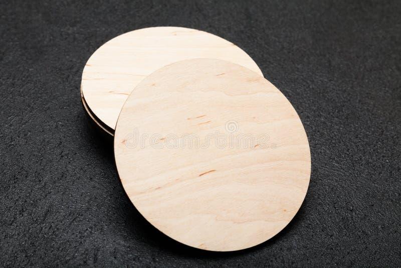 Cork coaster mockup, circle brown wood board.  royalty free stock photos