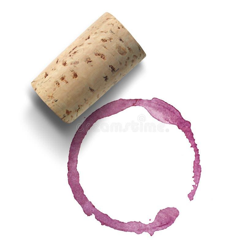 Cork en rode wijnvlek royalty-vrije stock afbeelding