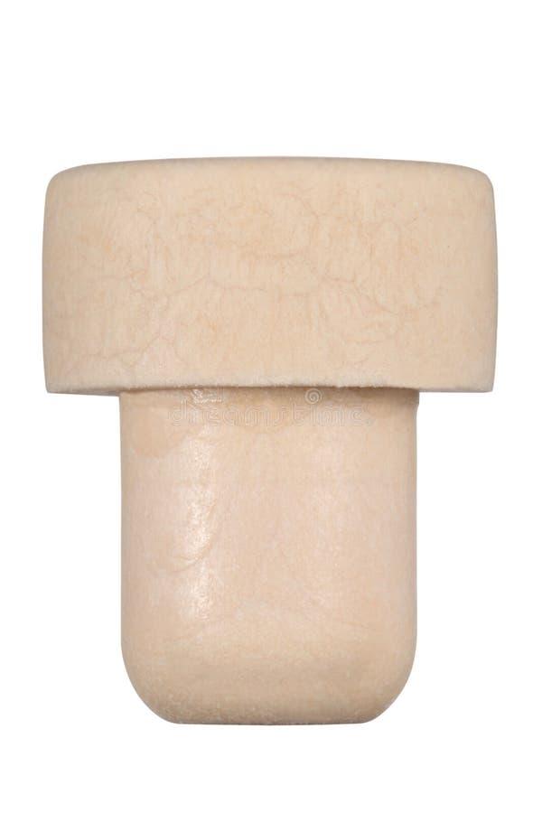 Cork flessenkurk op witte achtergrond met het knippen van weg en exemplaarruimte voor uw tekst wordt geïsoleerd die stock afbeelding