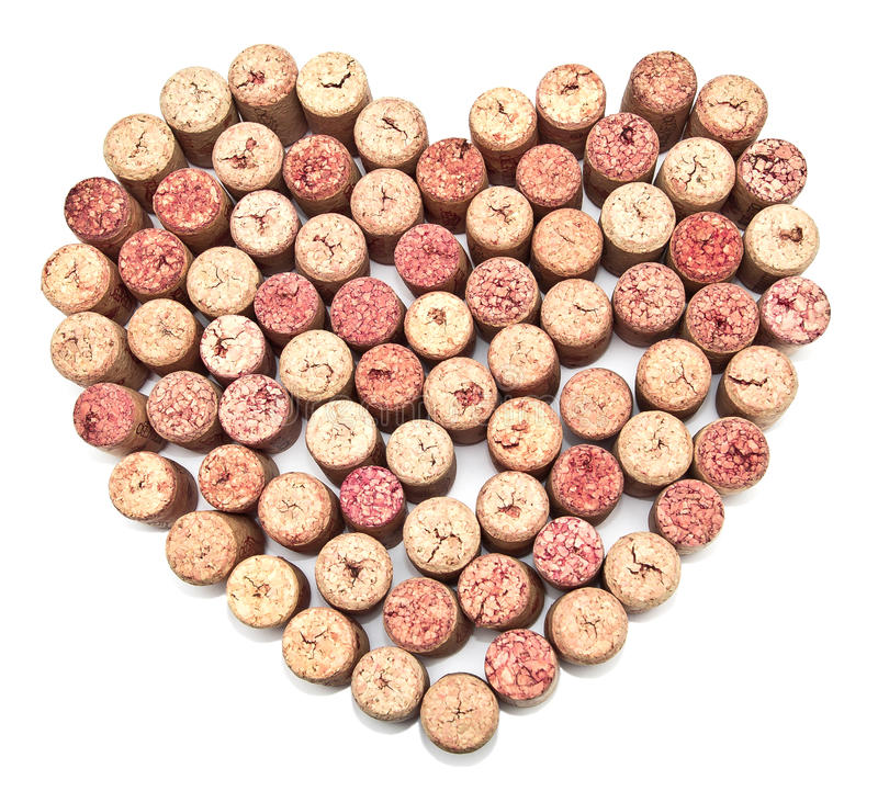 Cork heart. On the isolated background royalty free stock images