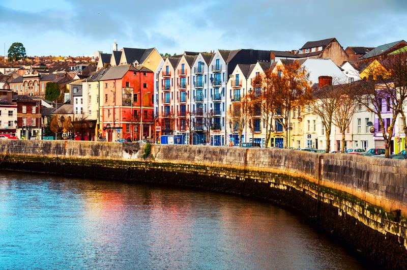 Bank of the river Lee in Cork, Ireland city center with various shops stock photo
