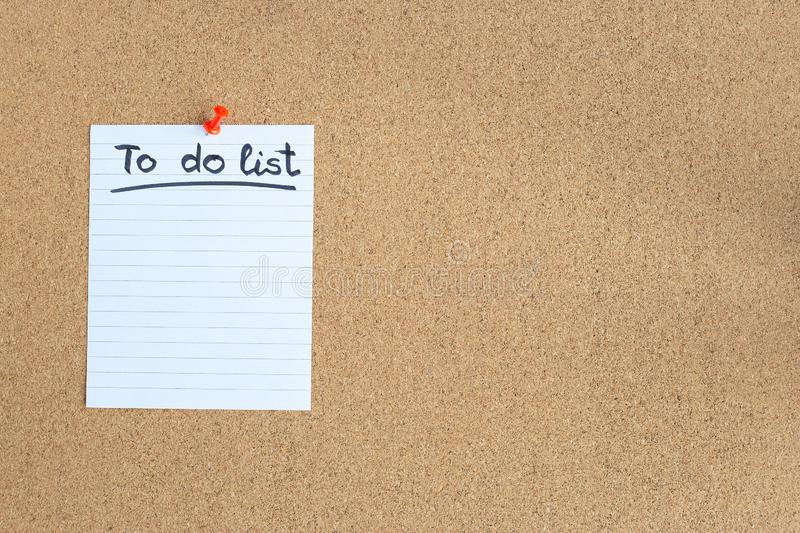 Cork memory board with blank piece of paper, to do list, bulletin board, horizontal, copy space stock photography