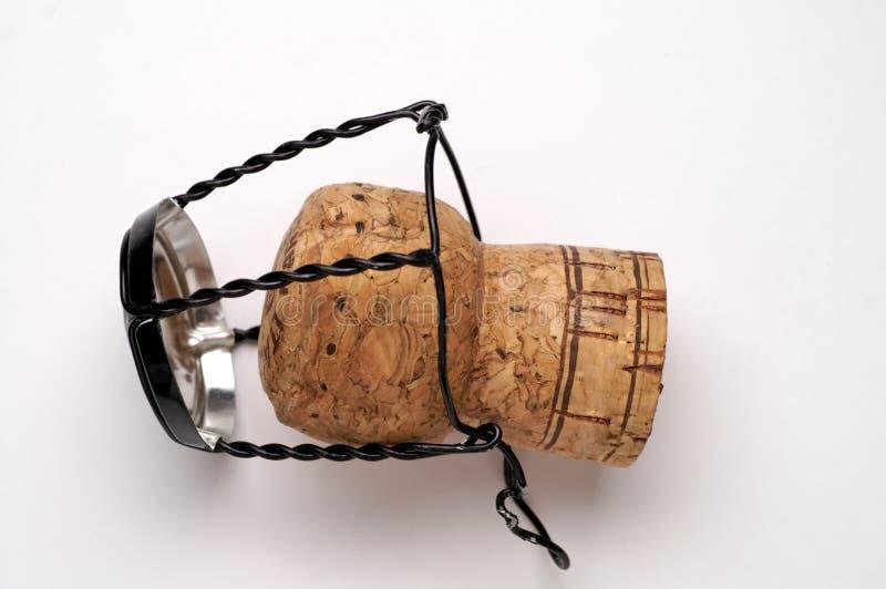 Cork van Champagne die op wit wordt geïsoleerdv stock foto's