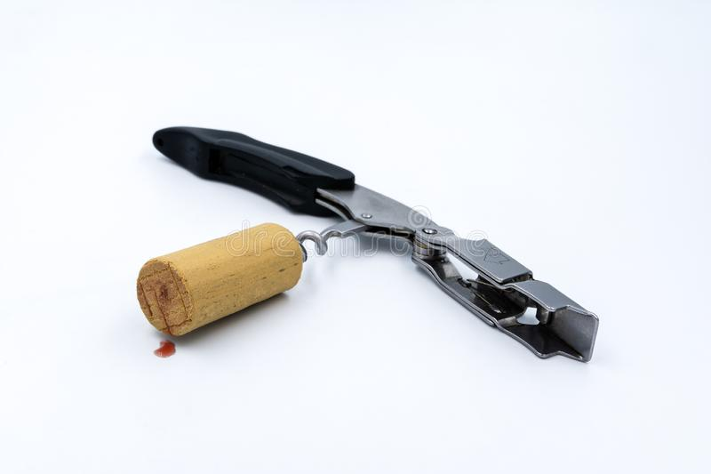 Cork wijn en kurketrekker royalty-vrije stock foto's