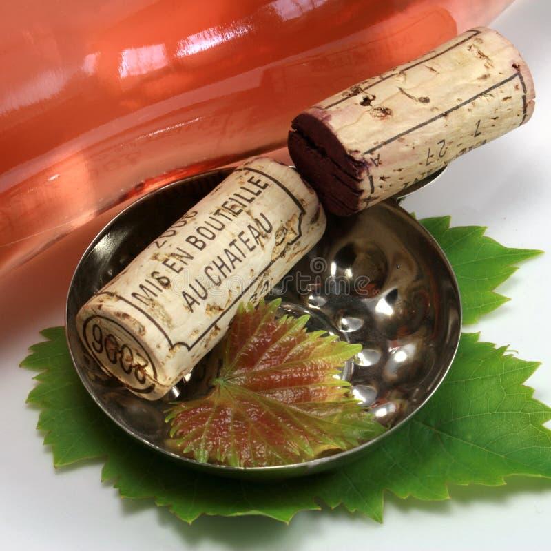 Cork and wine bottle stock photos