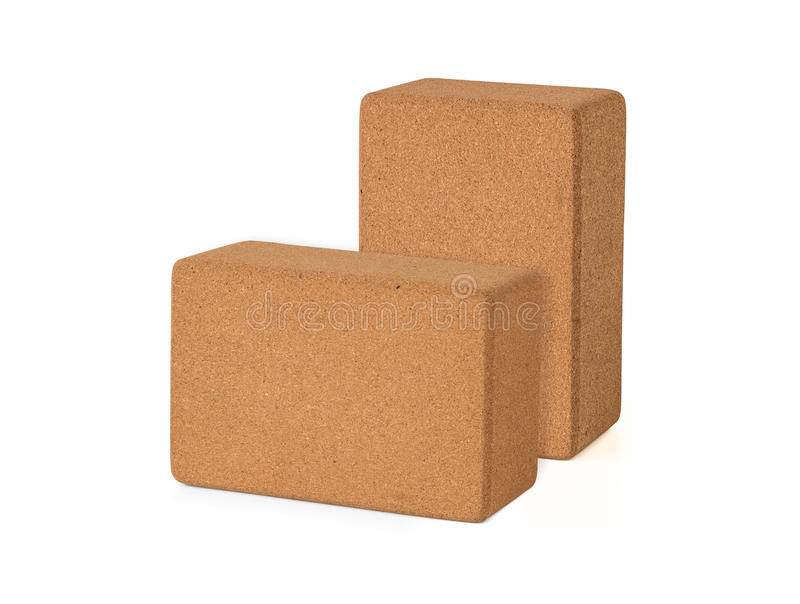 Cork Yoga Blocks Eco Friendly isolou-se no fundo branco, Prem fotos de stock