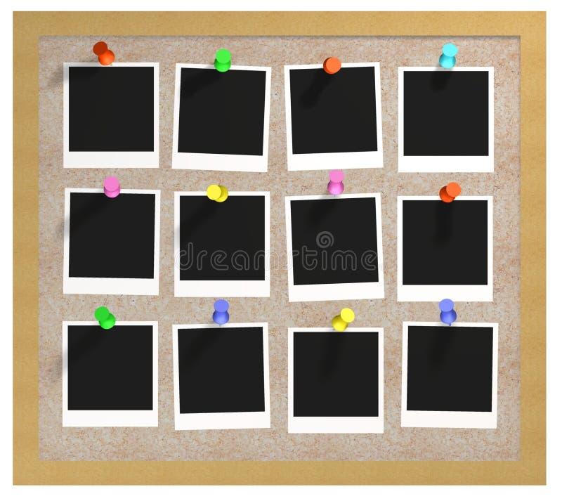 Corkboard y fotos ilustración del vector
