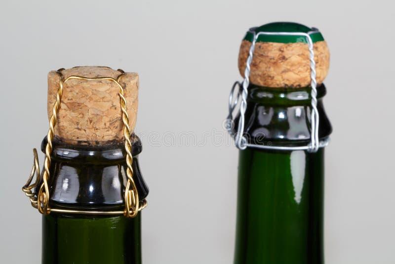 Corks of cider bottles. Corks of two cider bottles from Brittany stock image