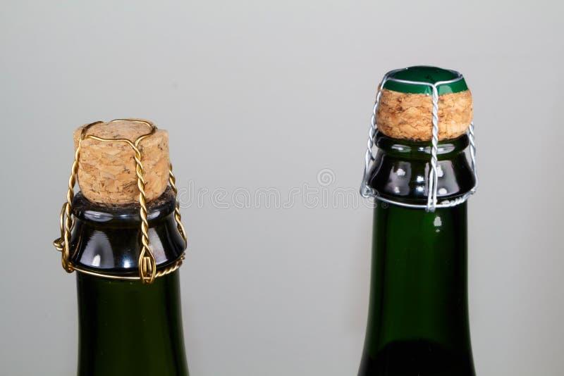 Corks of cider bottles. Corks of two cider bottles made in green glass stock photos