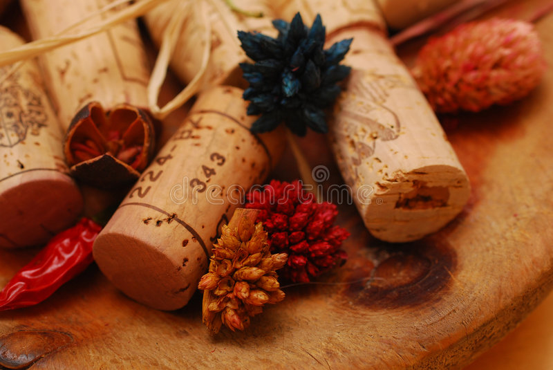 Corks and Golden plate stock images