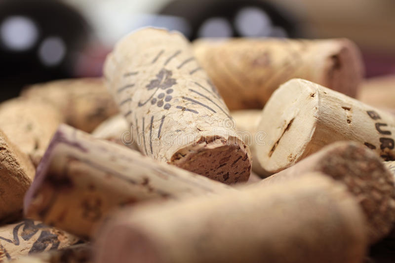 Corks on a heap. Close-up with many corks on a heap royalty free stock photos