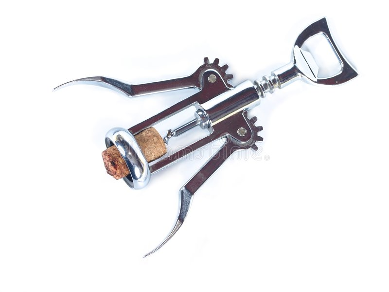 Corkscrew with cork stock images