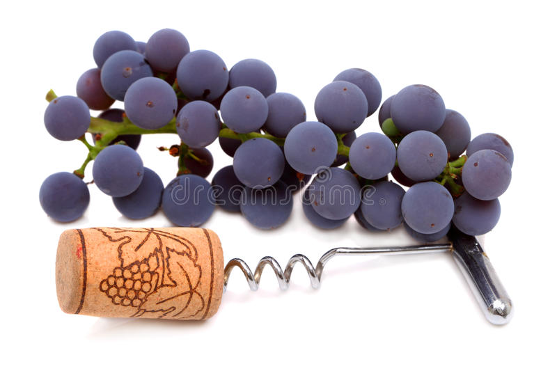 Corkscrew with cork and grape royalty free stock image