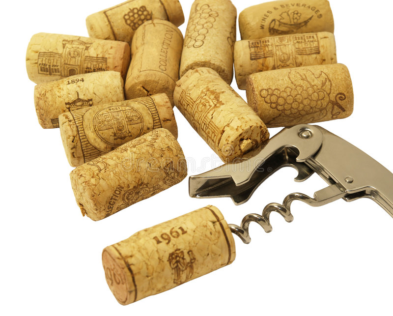 Corkscrew and corks royalty free stock photos
