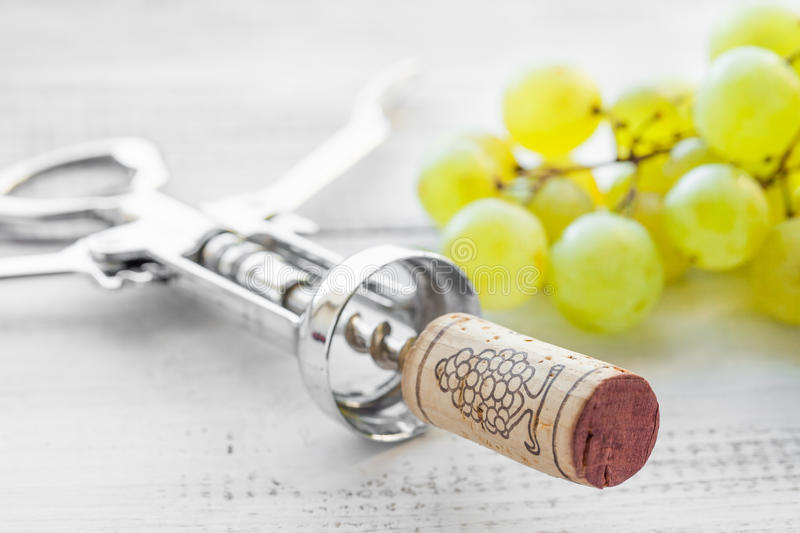 Corkscrew, grape and wine corks stock photos