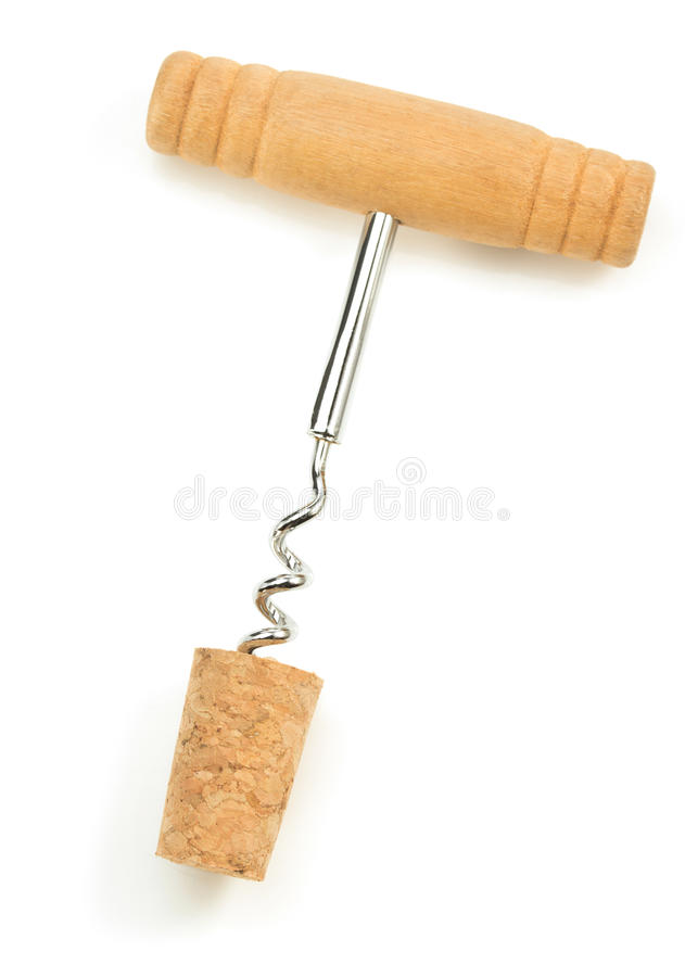 Corkscrew i wina korek na bielu zdjęcie royalty free