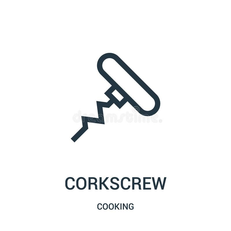 corkscrew icon vector from cooking collection. Thin line corkscrew outline icon vector illustration. Linear symbol vector illustration