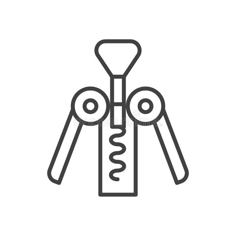 Corkscrew kreskową ikonę, konturu wektoru znak, liniowy stylowy piktogram odizolowywający na bielu ilustracji