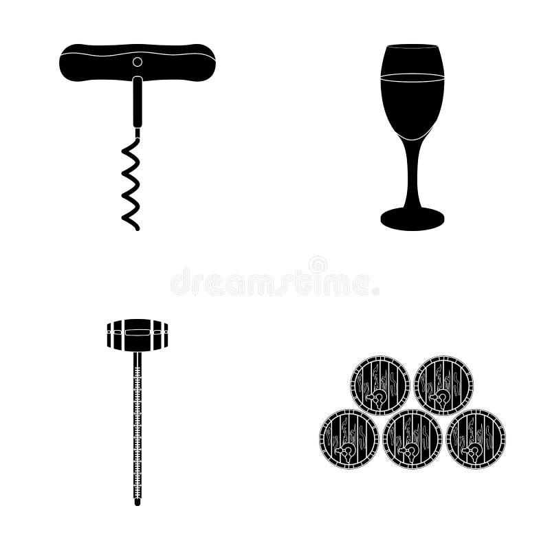 Corkscrew, o contador do álcool, tambores no cofre-forte, um vidro do vinho branco Ícones da coleção do grupo de produção do vinh ilustração stock