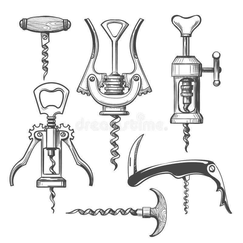 Free Corkscrew Sketch Icons Set Stock Photo - 152601840