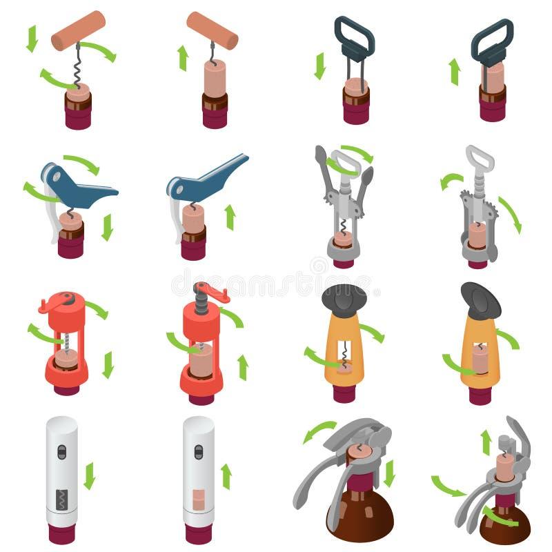 Corkscrew wine opener icons set, isometric style royalty free illustration