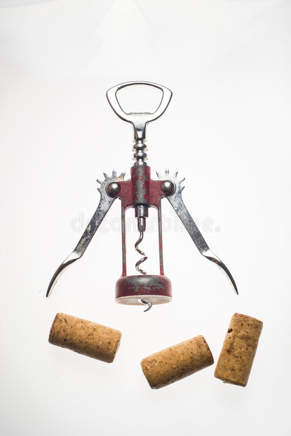 Corkscrews white background. Corkscrews wine cork party concept royalty free stock photo