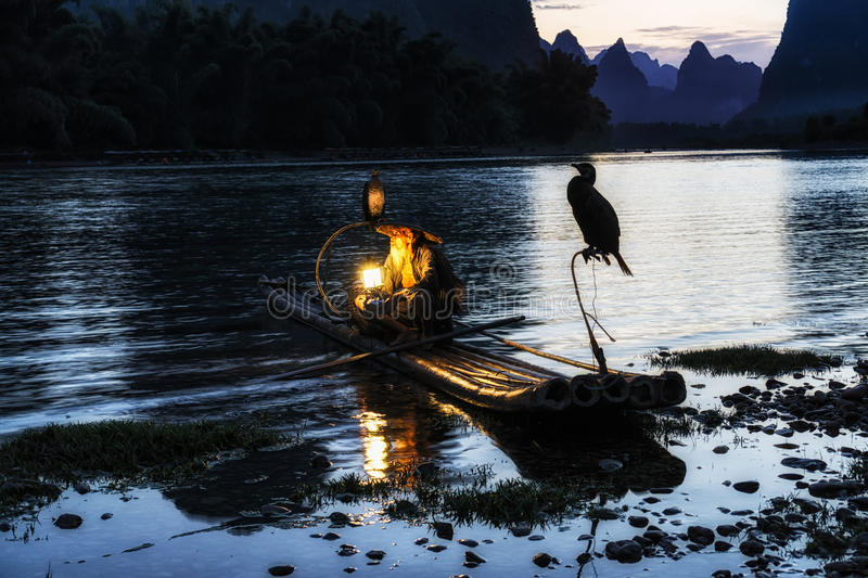 The cormant fisherman in li river. Li river cormant fisherman resting by the famous li river with the 20 yuan bank note scenery on the background. Taken near royalty free stock photography
