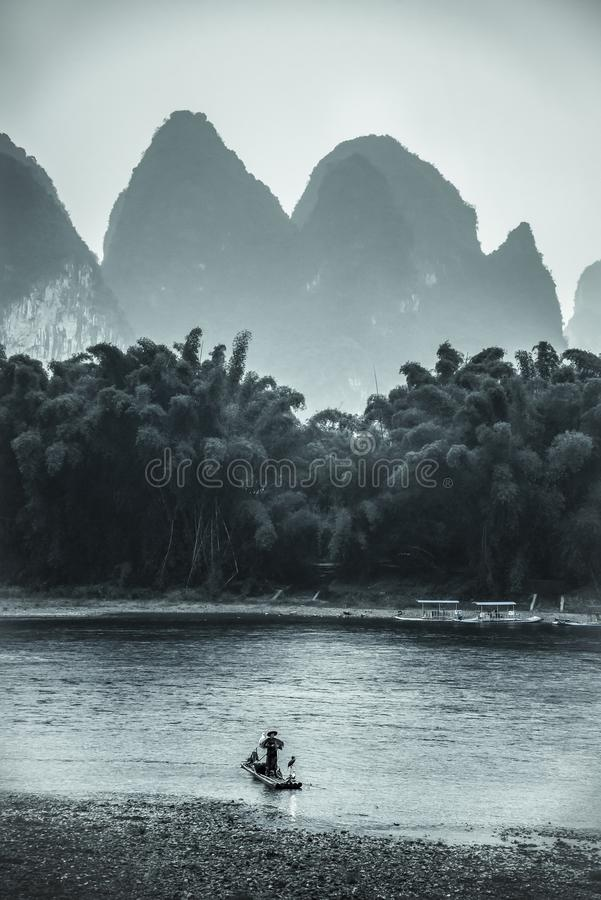 Cormorant fishing, Guangxi province, China royalty free stock images