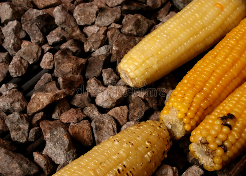 Corn. On the barbecue royalty free stock photos