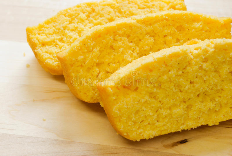 Corn Bread. Close up of three corn bread slices stock photography