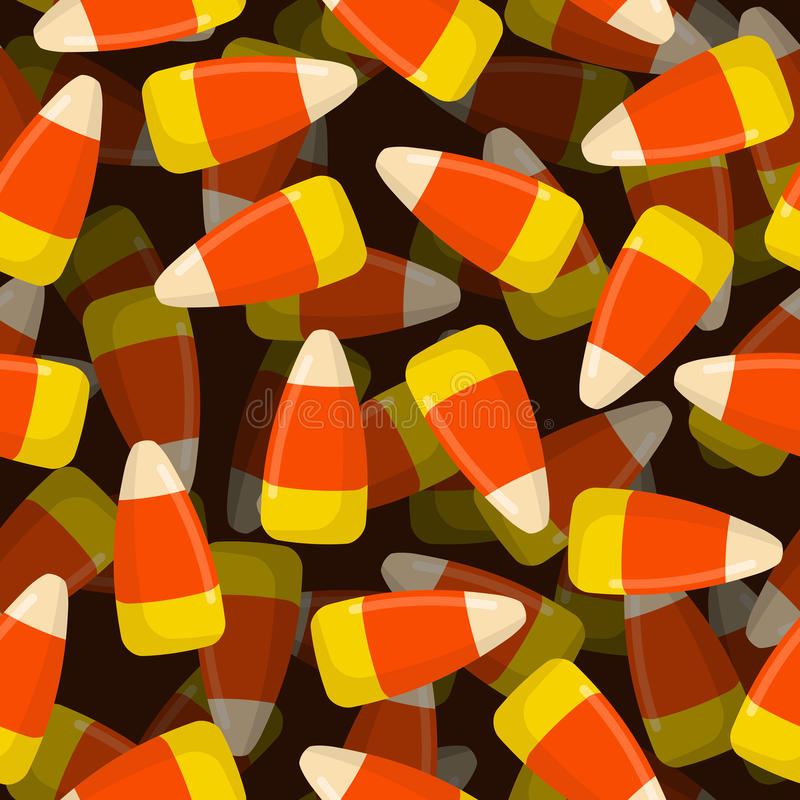 Corn candy seamless pattern 3D. Sweets texture. Background traditional treat for Halloween. Food decoration royalty free illustration