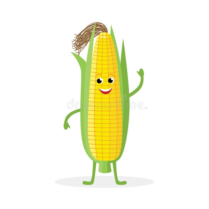 Corn cartoon character isolated on white background. Healthy food funny Corn ear mascot vector illustration in flat stock illustration
