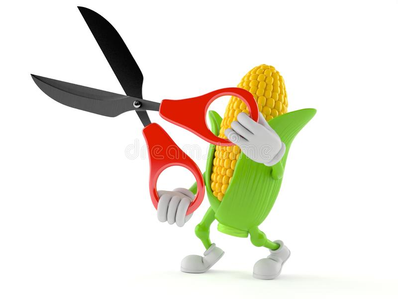 Corn character holding scissors. Isolated on white background. 3d illustration vector illustration