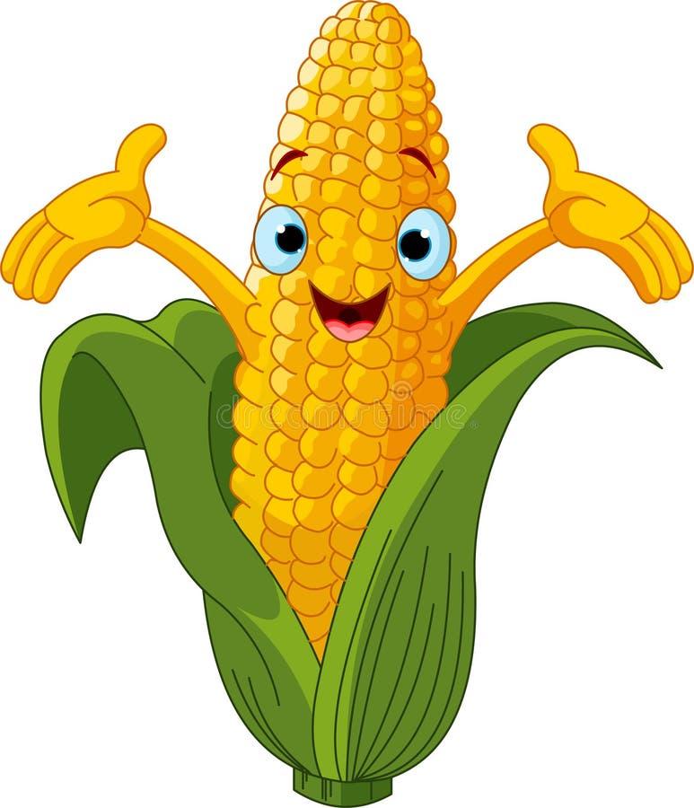 Corn Character Presenting Something royalty free illustration