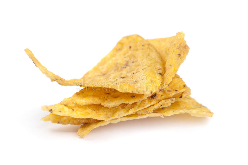 Corn chips. On white stock photo