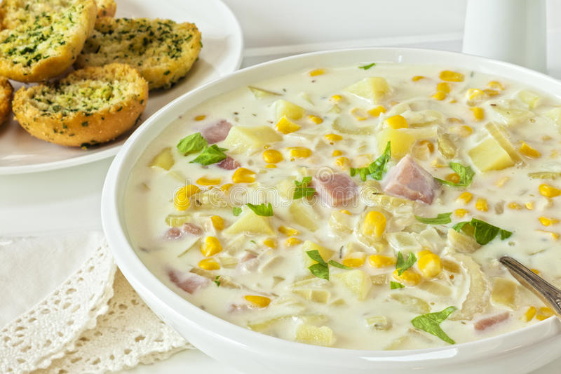 Download Corn Chowder stock image. Image of appetiser, lunch, soup - 33978509