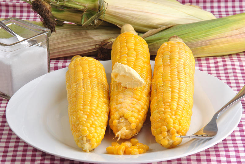 corn on the cob with butter and salt royalty free stock photos