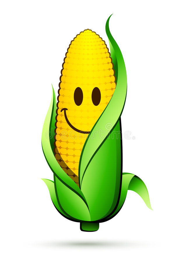 Corn on the cob character vector illustration
