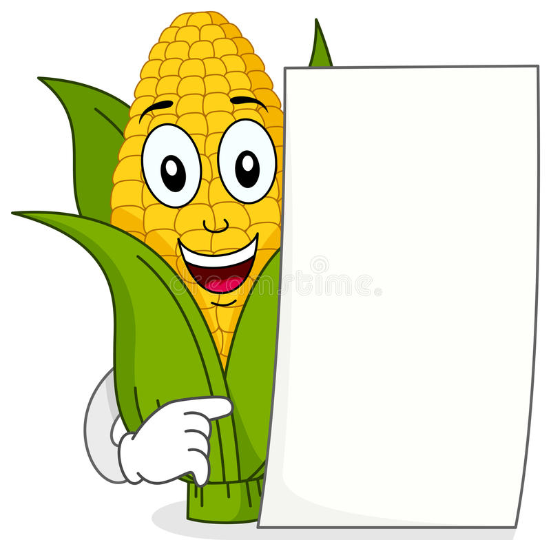 Corn Cob Character with Blank Paper. A happy cartoon corn cob character smiling and holding a blank paper, isolated on white background. Eps file available vector illustration