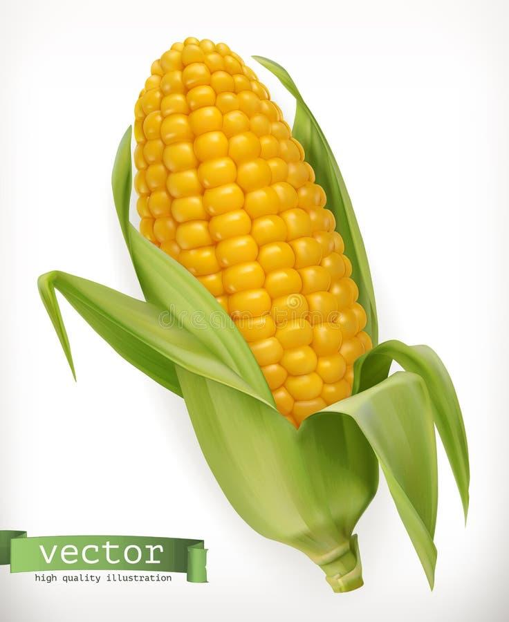 Corn cob. Vector icon. Corn cob. 3d vector icon stock illustration