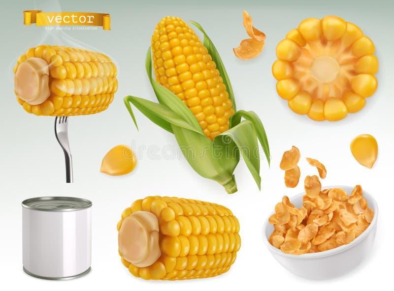 Corn cob, grains, corn flakes. Set vector elements. Package design. Corn cob, grains, corn flakes. Set 3d vector elements. Package design royalty free illustration