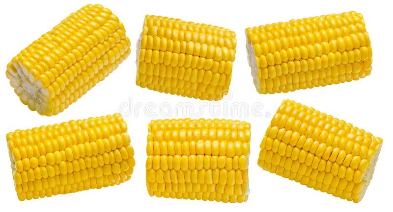 Corn cob piece set 2 isolated on white background royalty free stock photography