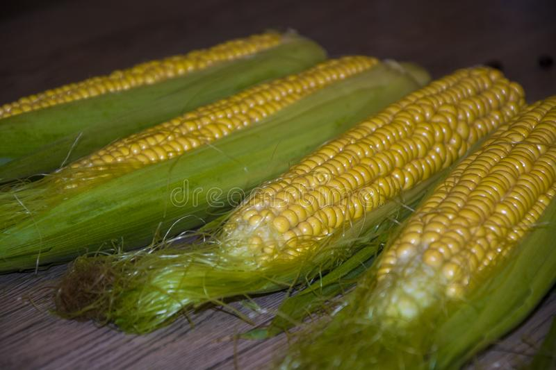 Corn cob on the table table delicious healthy food summer stock photos