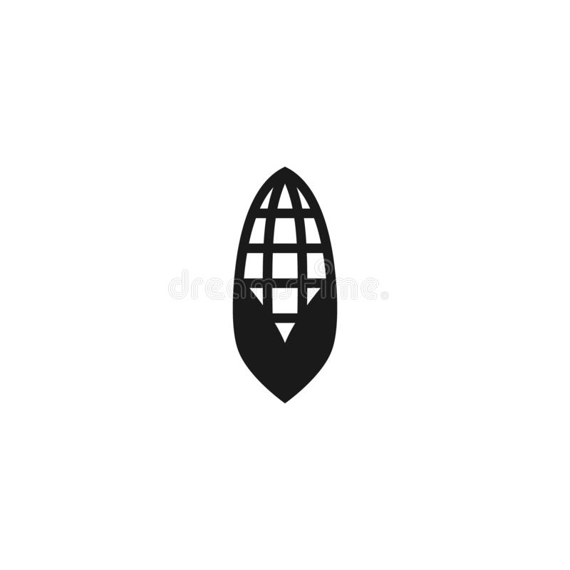 Corn cob vector simple icon. Black isolated corn cob flat icon. stock illustration
